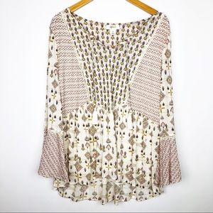 Style & Co Pink Bell Sleeve Peasant Top